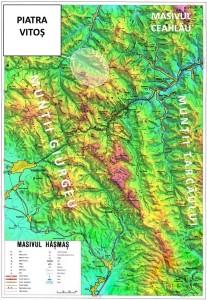 """harta: Emilian Cristea (Masivul Hășmaș și Stațiunea Lacul Roșu. Ghid turistic, Colecția """"Munții noștri"""", nr.16, Ed. Sport-Turism, București, 1978) - prelucrare 3D: Andrei Raftopol"""