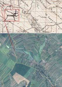 - situația în 1939 (harta: Geo-spatial.org); - situația actuală (foto: Google Earth)