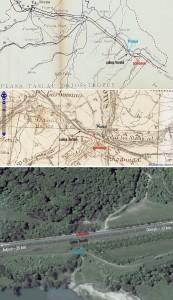 foto: - geo-spatial.org (situație din 1910) - geo-spatial.org (situație din 1944) - Google Earth (situația actuală)